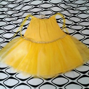 Girls Tutu & Tiara Yellow size 6 - 6X handmade